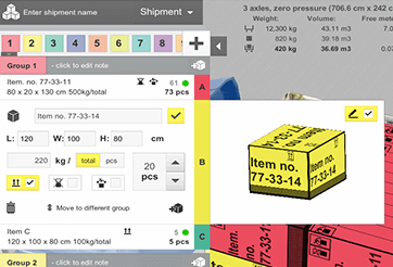 Loading constraints and description right on the box in EasyCargo loading software.
