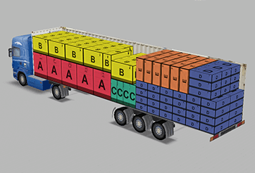 3D visualisation of a load plan on a semi-trailer in the load planning software EasyCargo