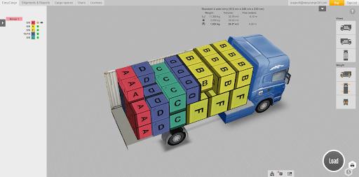 عرض خطة الشحن ثلاثية الأبعاد في تطبيق EasyCargo