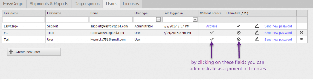 How to re-assign a license to another user in load planning software - step 1