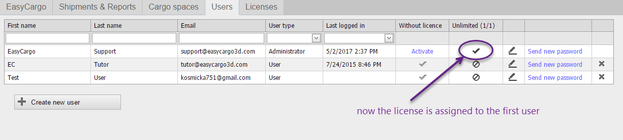 How to re-assign a license to another user - step 2