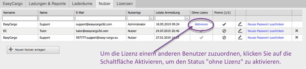 """Um die Lizenz einem anderen Benutzer zuzuordnen, klicken Sie auf die Schaltfläche Aktivieren, um den Status """"ohne Lizenz"""" zu aktivieren"""