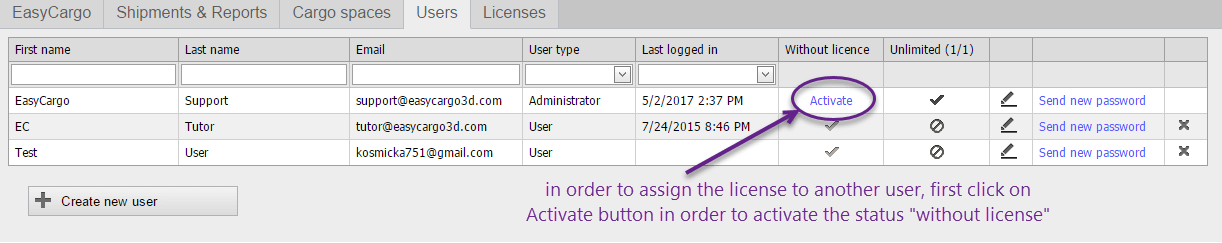 How to re-assign a license to another user - step 3