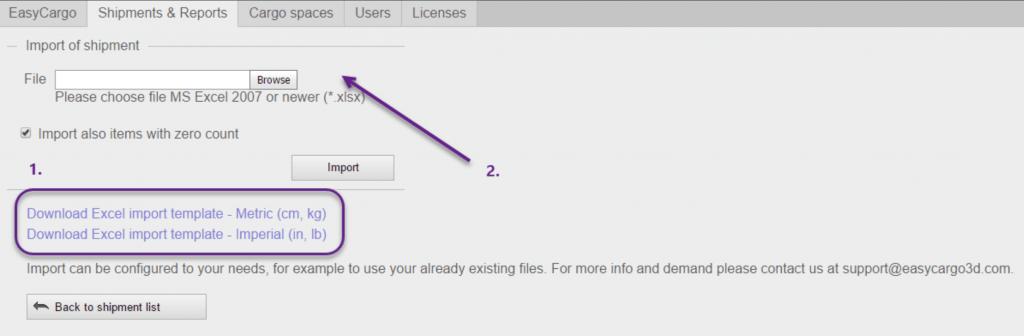 نقل السلعة من ملف MS Excel في تطبيق EasyCargo.