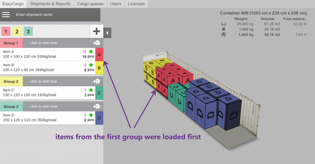 An example of Priority Groups in the load calculator