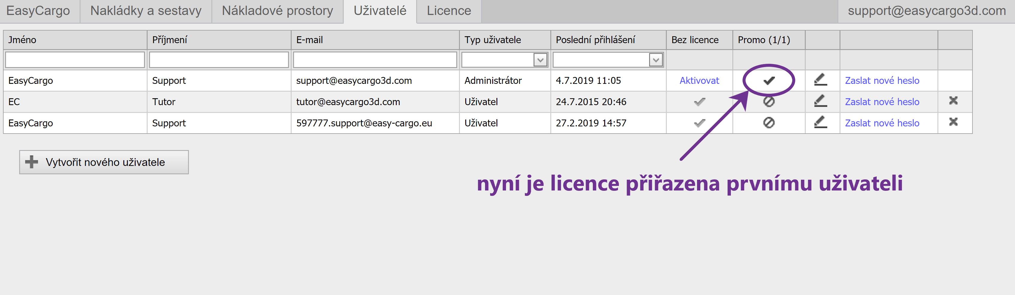 Jak přiřadit licenci jinému uživateli - krok 2