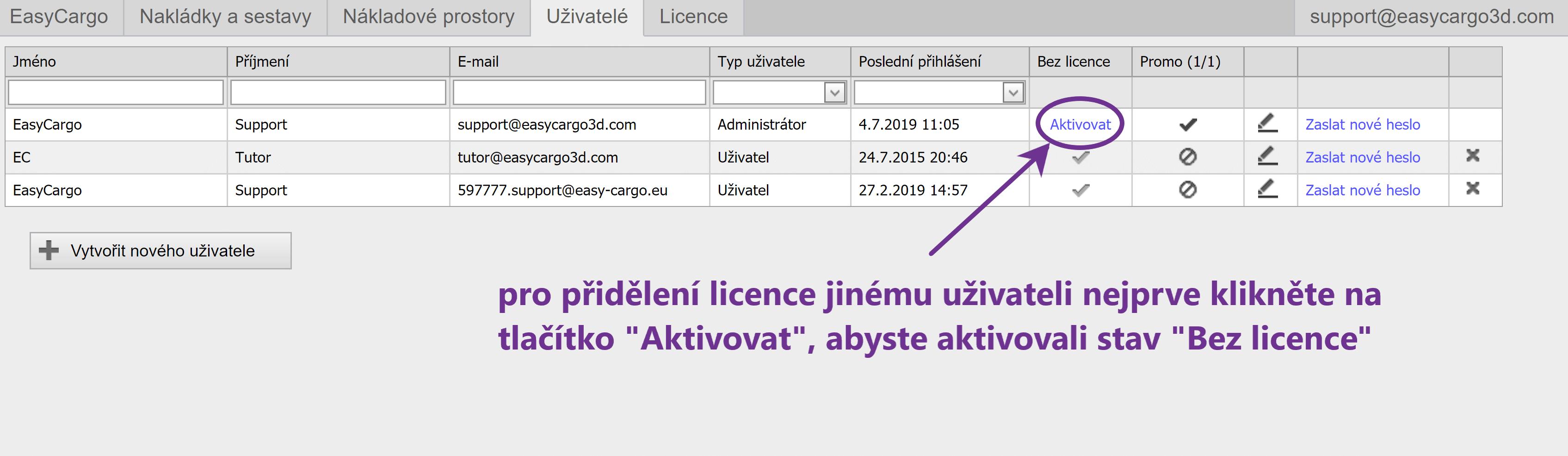 Jak přiřadit licenci jinému uživateli - krok 3