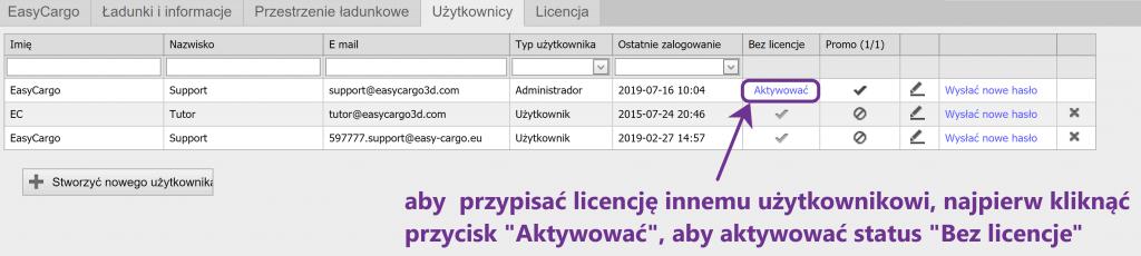 """Aby przypisać licencję innemu użytkownikowi, najpierw kliknąć przycisk """"Aktywować"""", abyaktywować status """"Bez licencje"""""""