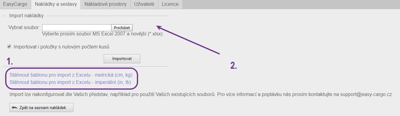 Import položek zMS Excel