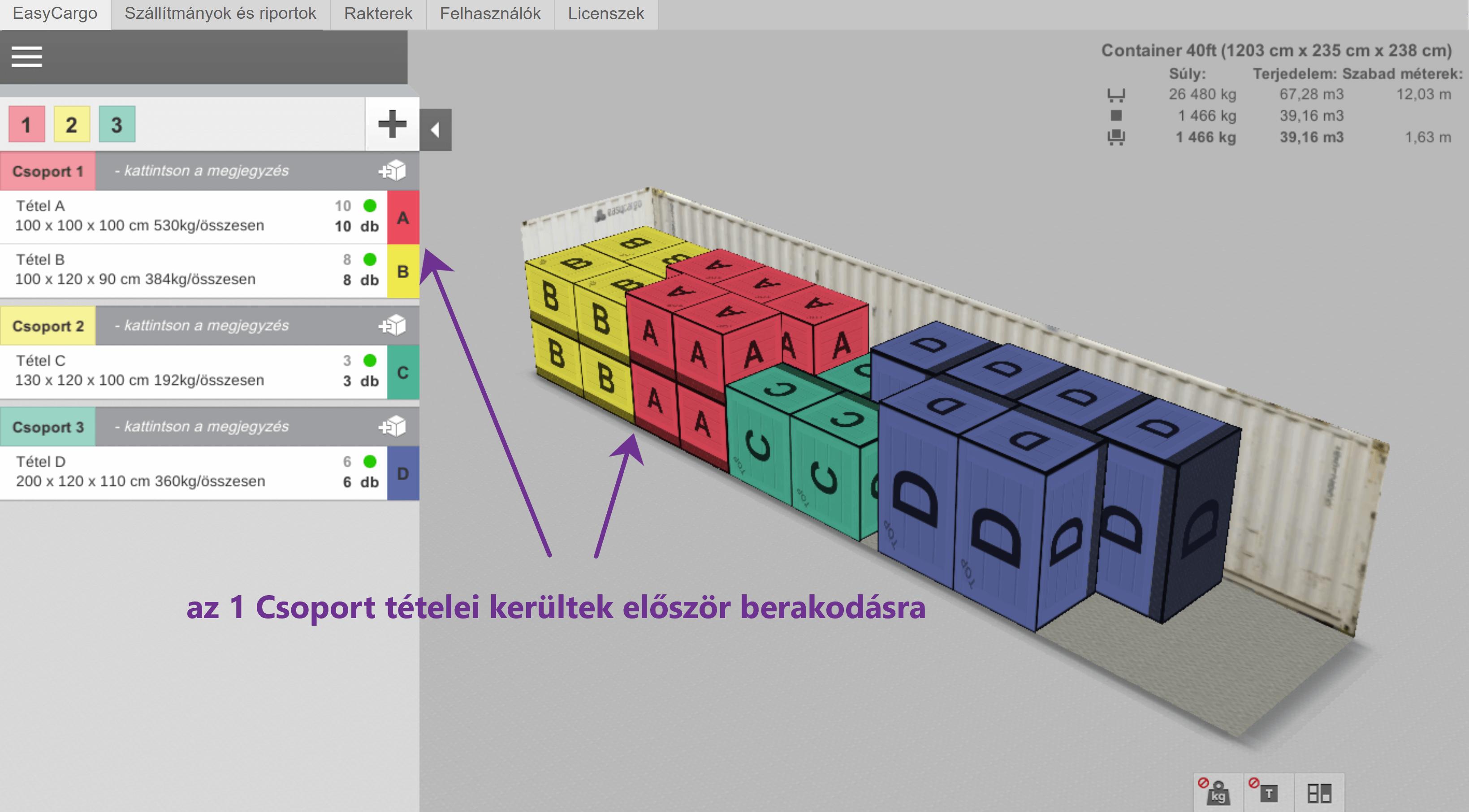 Fontossági sorrend példa - színek ábrázolják az egyes tételeket