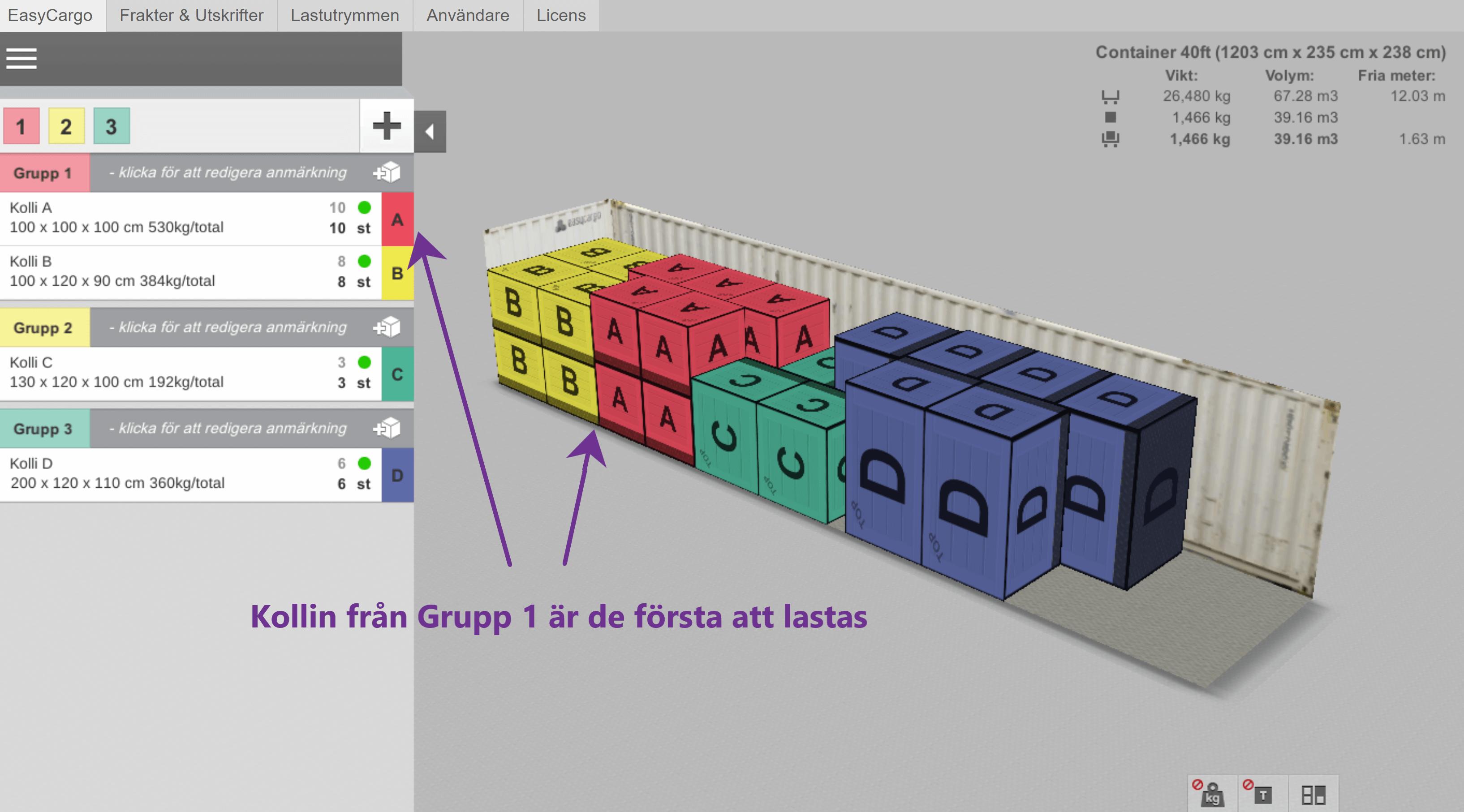 Ett exempel på Prioritetsgrupper – färgerna visar olika sorts kollin