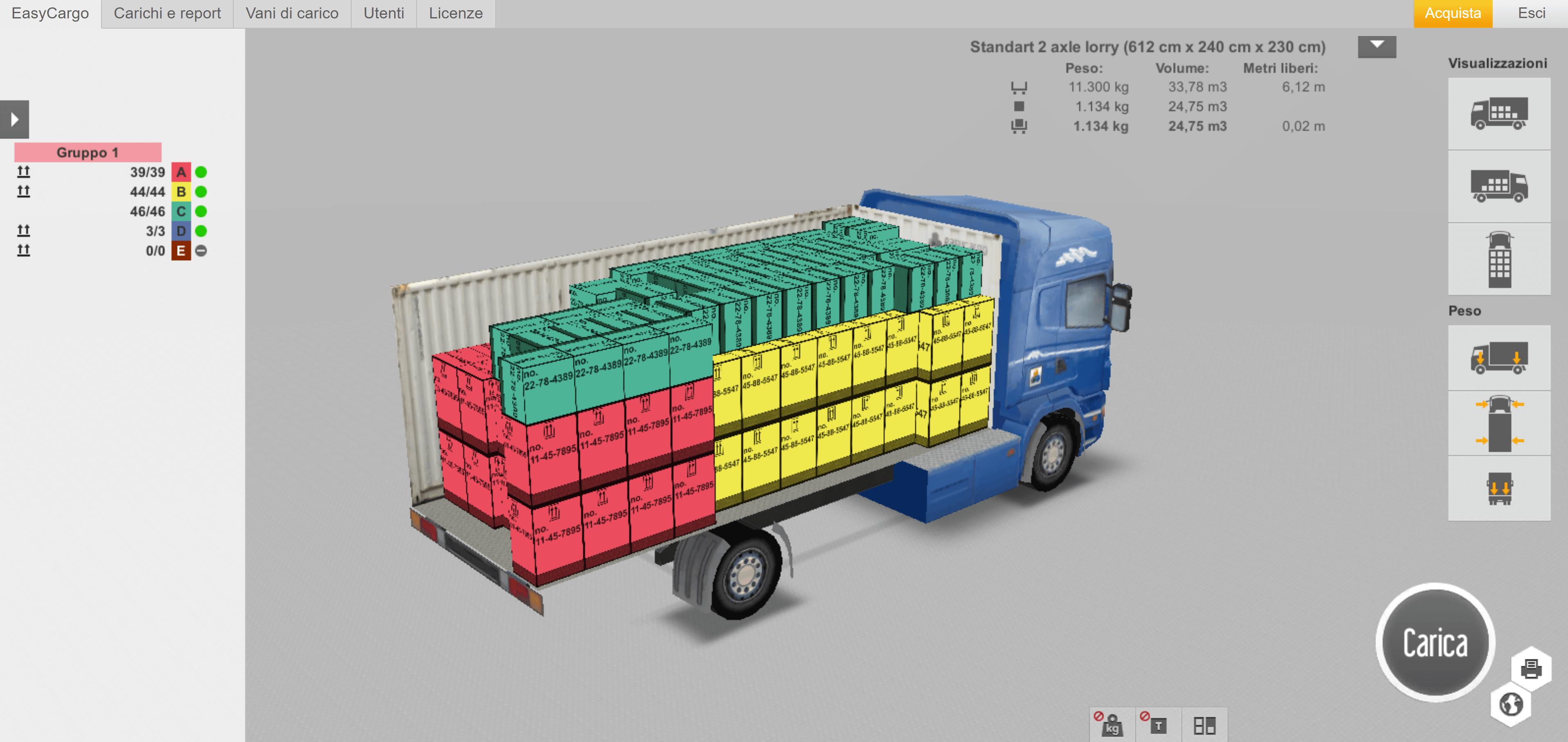Visualizzazione 3D del piano di carico EasyCargo