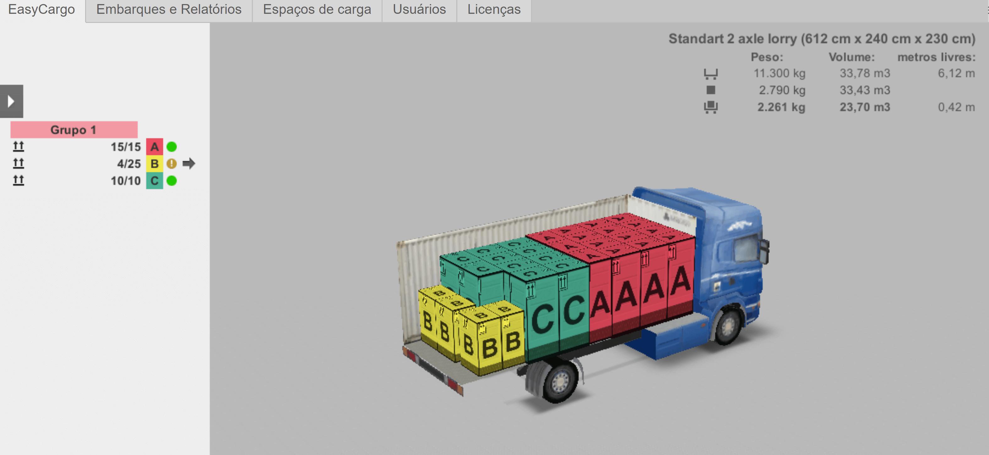 Você pode ampliar, girar e explorar seu plano de carga em detalhes