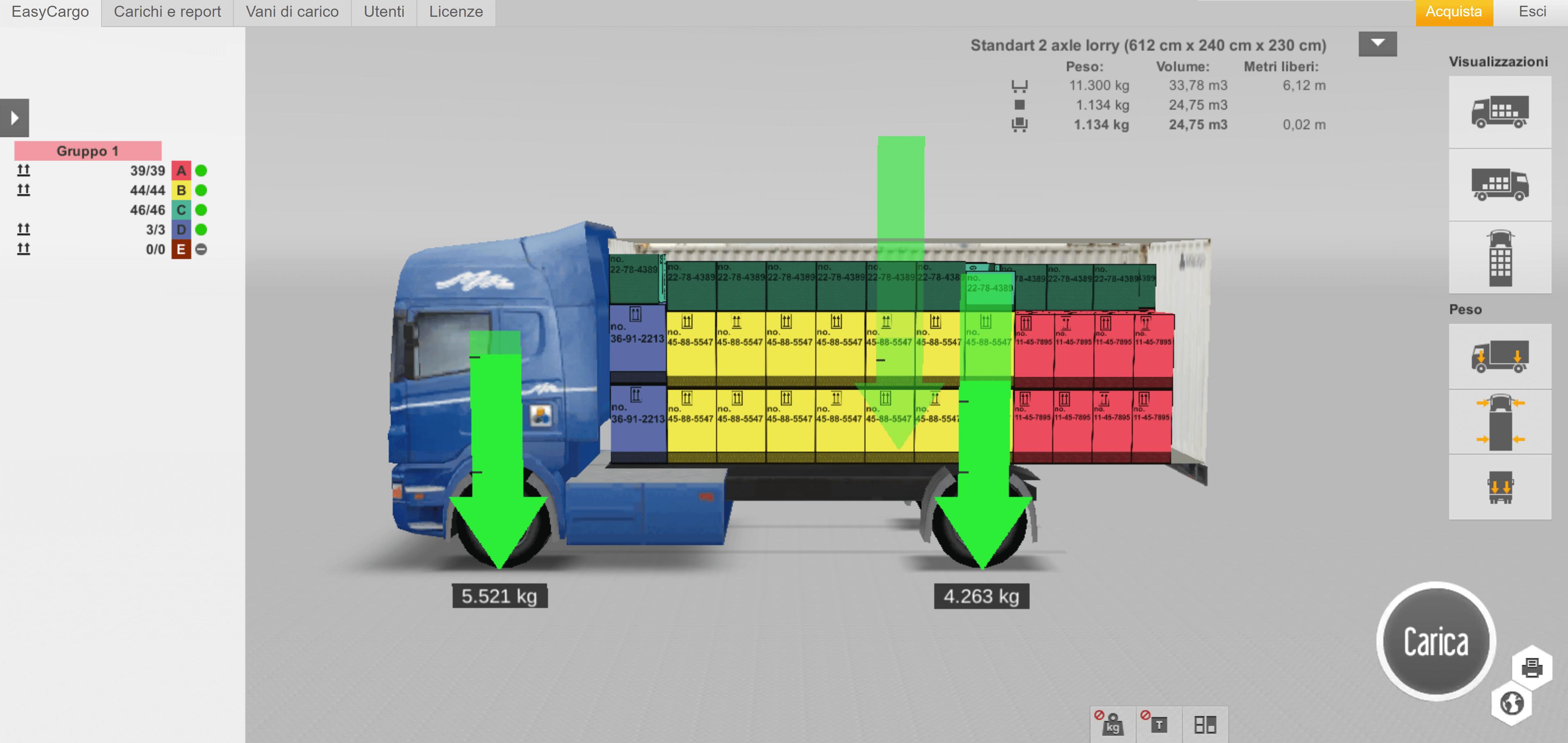 Calcolo del carico sulle ruote – vista laterale
