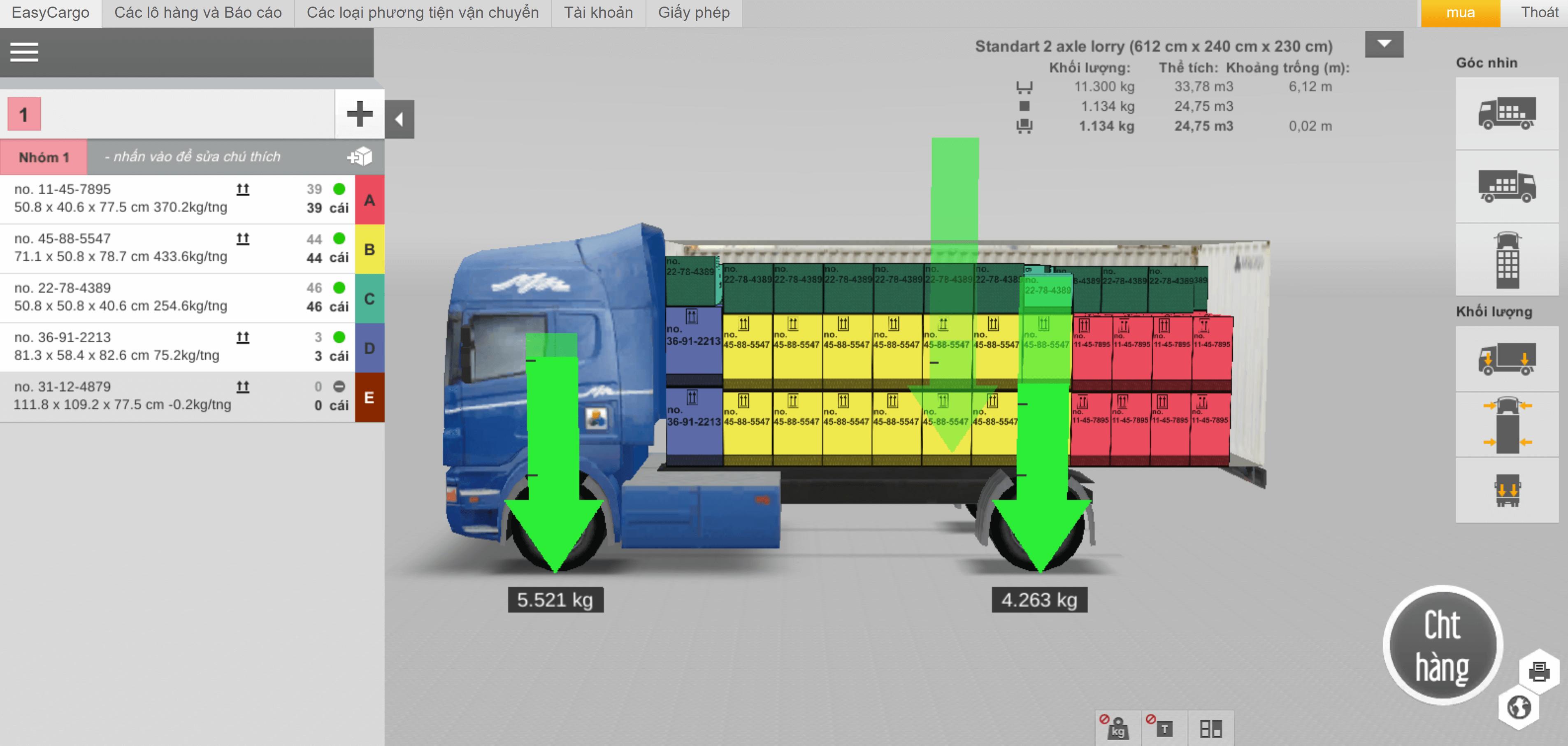 Tính toán tải trọng – hình từ bên hông