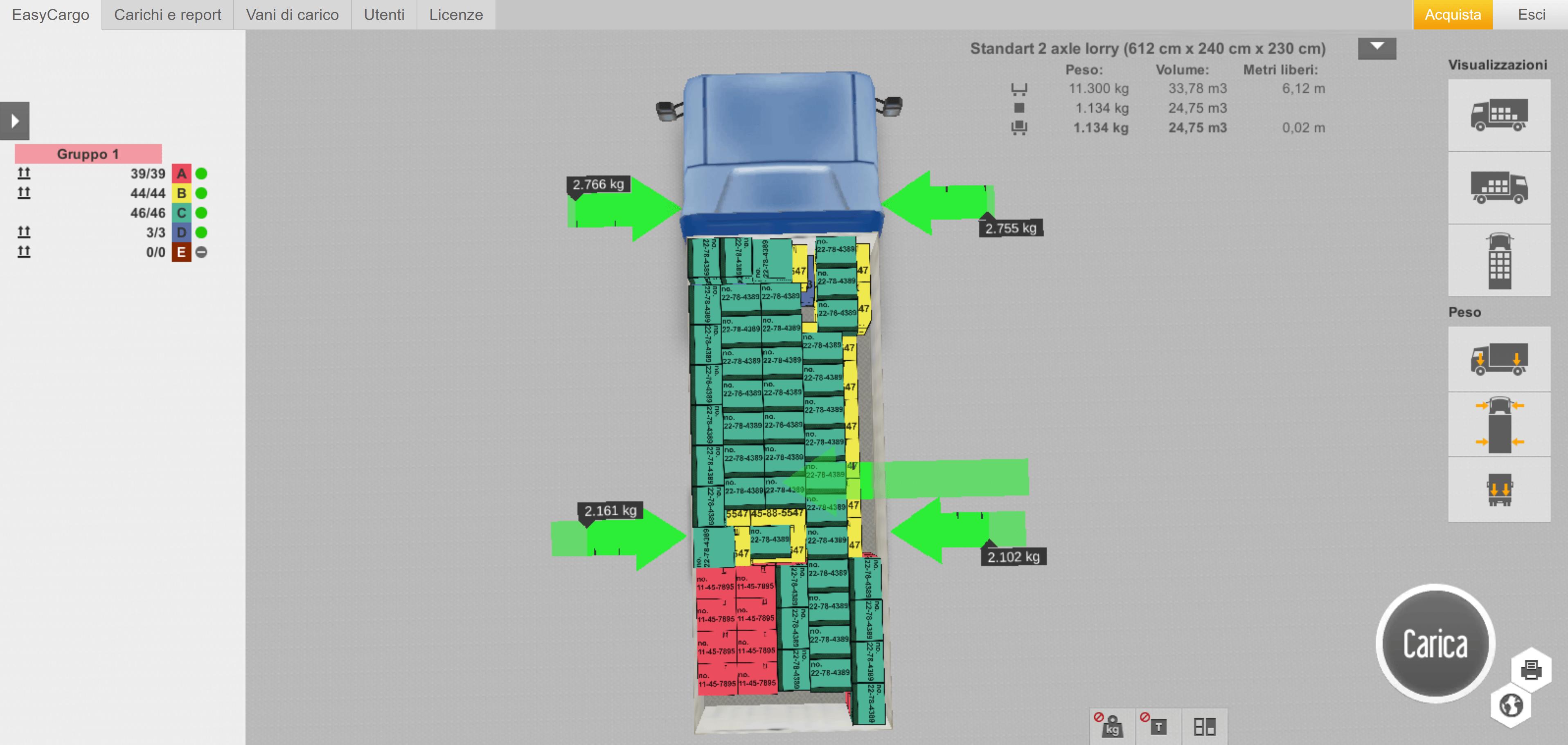 Calcolo del carico sulle ruote – vista dall'alto