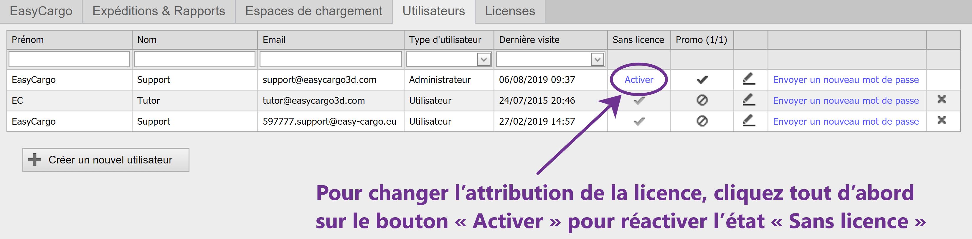 Comment attribuer la licence à un utilisateur – étape 3