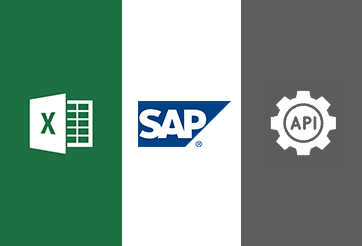 Integration via Excel, SAP, API