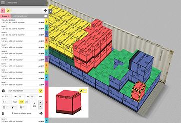Cargo drag&drop editor for box placement in container load plan