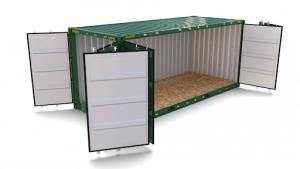 Dvacetistopý kontejner sotevřenými boky