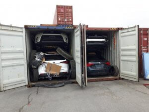 Two loaded car carrier containers - truck loading software