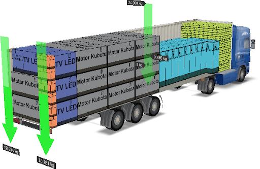 Camión con su carga organizada en cinco colores para distribuir en cinco zonas distintas de una misma ciudad