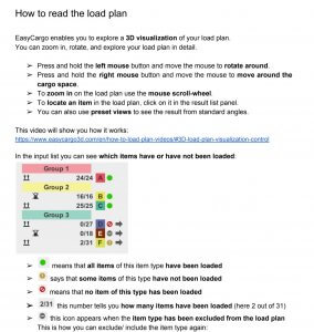 How to read the load plan - Handbook preview - cargo loading planner