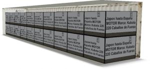 EasyCargo calculo 20 motores estacionarios de 220 HP en un contenedor HC 40
