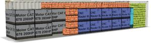 En el contenedor, los CNC Router XL no pueden ser volteables por sus características técnicas, por lo que EasyCargo los ordena con esta restricción