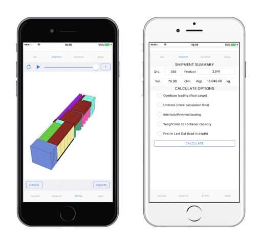 Cargo Optimizer Enterprise hat sogar eine Anwendung für Android und iPhone / iPad