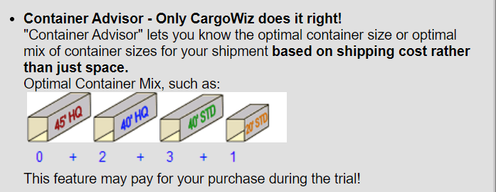 Cargowiz will even choose the best container for you!