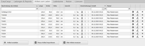 Hinzufügen, Importieren und Verwalten einer Artikeldatenbank in der EasyCargo Software zur Beladung von LKW und Container
