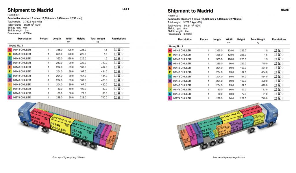 Print report in PDF format in EasyCargo loading calculator