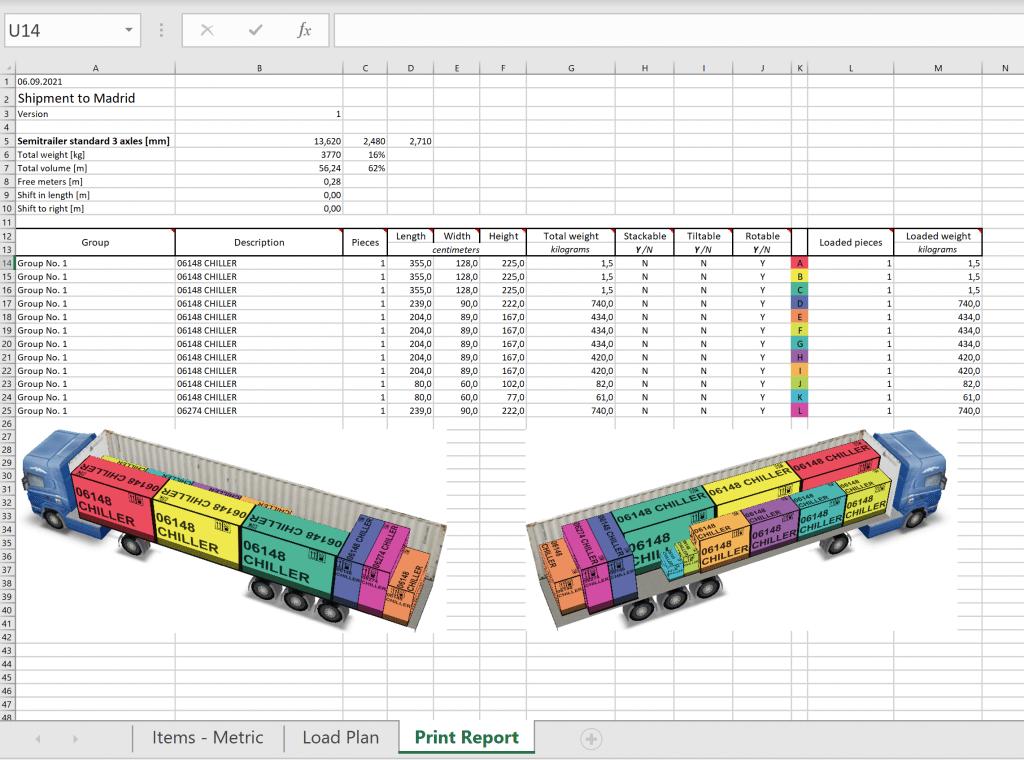 Print report in Excel format in EasyCargo loading calculator